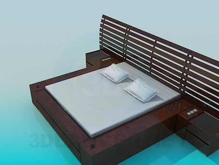 3d modeling Double bed with backtop model free download