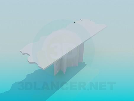 modelo 3D Mesa parietal con el borde de la bobina - escuchar