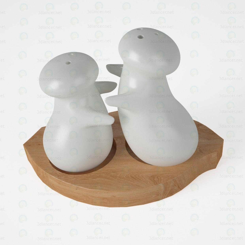 modelo 3D Saleros y pimenteros - escuchar
