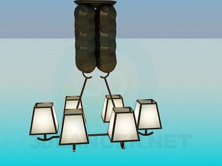 modelo 3D La lámpara de 6 Bombillas - escuchar