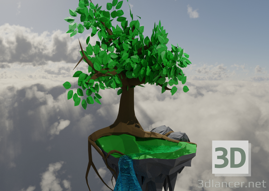3d model Flying island - preview