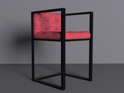 Una sedia con un telaio metallico