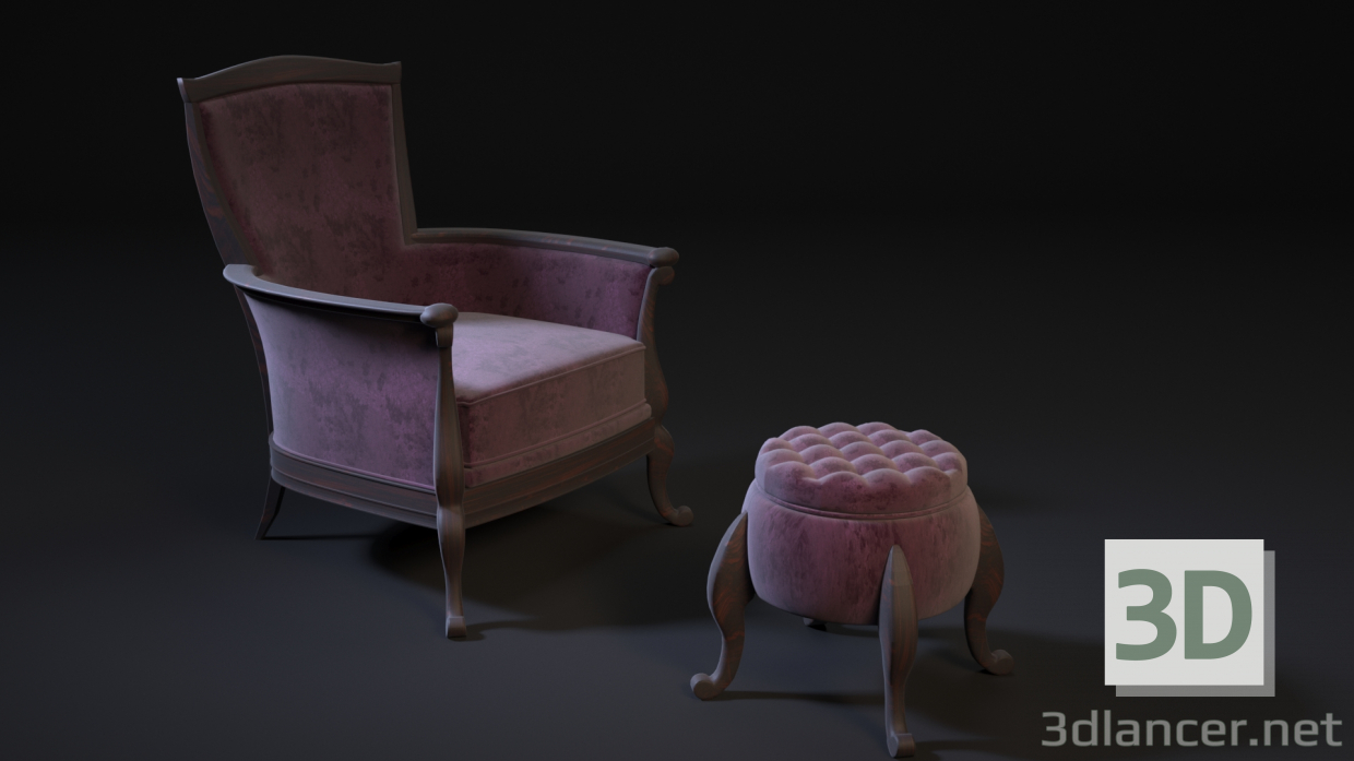 3d chair pouf model buy - render