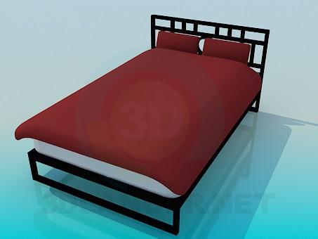 3d модель Полуторная кровать – превью