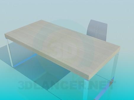 3d модель Стол и стул для рабочего места – превью