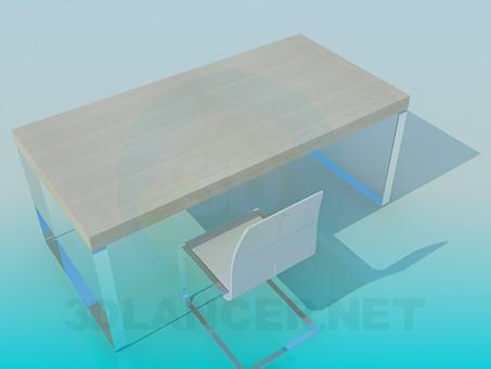 modelo 3D Mesa y silla de trabajo - escuchar