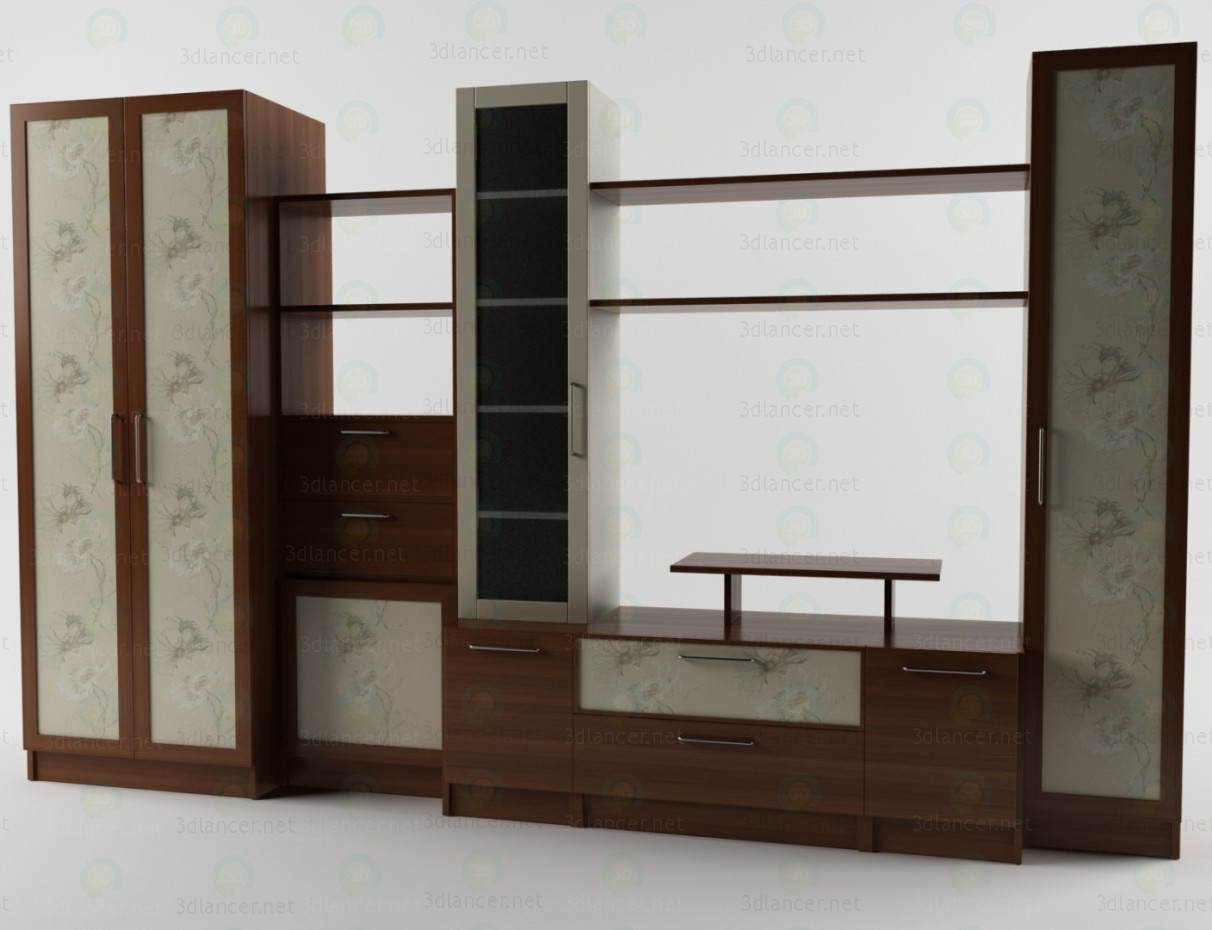 3d model Wall unit for a living room - preview