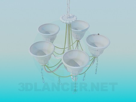 3d modeling Chandelier with porcelain ceiling paintings model free download