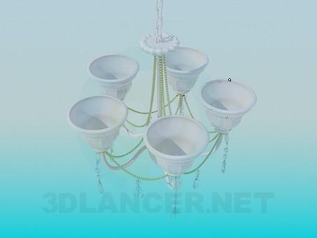 3d модель Люстра с фарфоровыми плафонами – превью