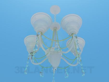 modelo 3D Lámpara Chandelier con pinturas del techo de porcelana - escuchar