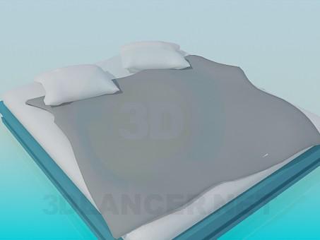 3d модель Двуспальная кровать без былец – превью