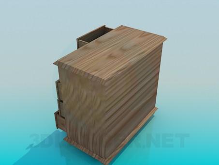 modelo 3D Cajonera de madera - escuchar