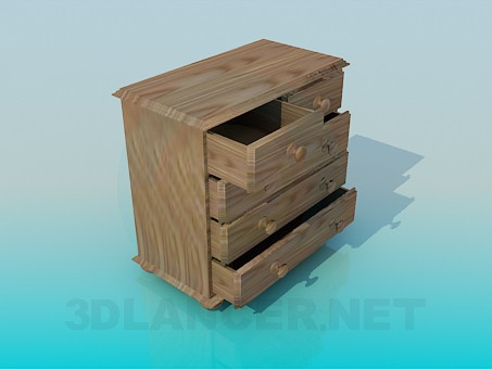 3d model Wooden chest of drawers - preview
