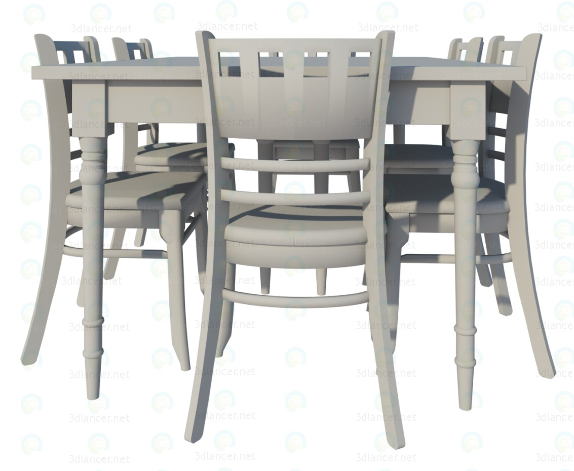 3d Provence Dining table and chairs model buy - render