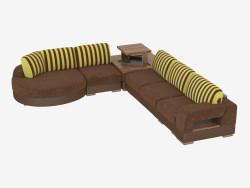 divano ad angolo modulare con una barra