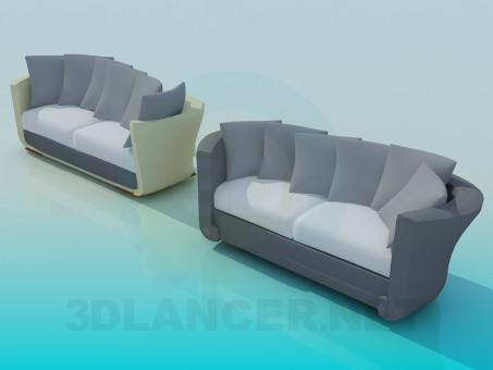 modelo 3D Sofá ovalado - escuchar