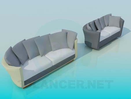 3d model Oval Sofa - preview