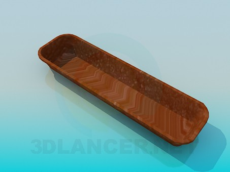 3d model Rectangular long pot for plants - preview