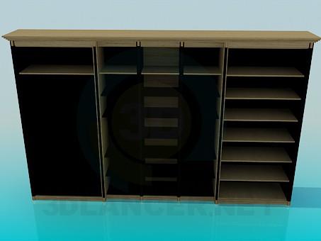 modelo 3D Armario con estantes - escuchar