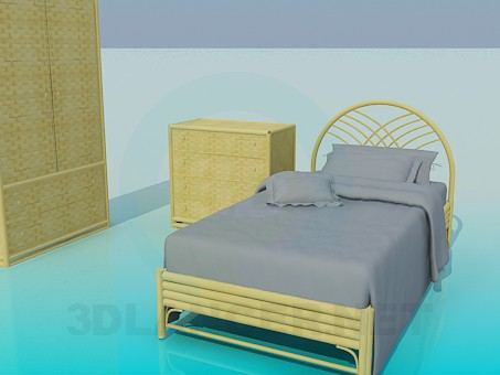 3d model Set of wicker furniture in the bedroom - preview