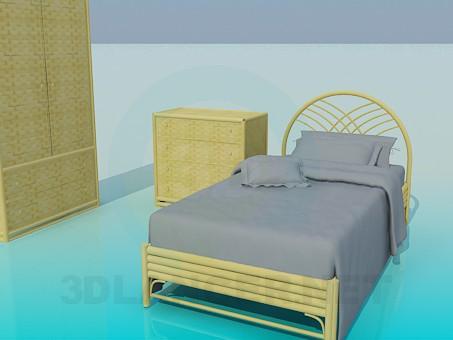 3d модель Набор плетеной мебели в спальню – превью
