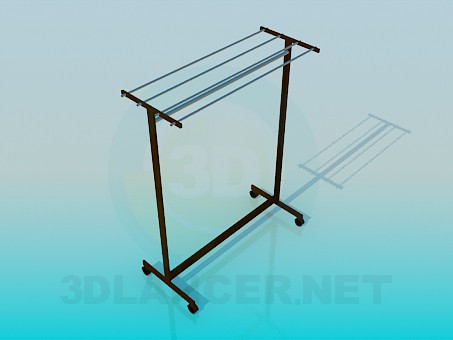 3d model Clothes hanger on casters - preview