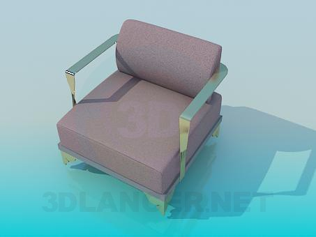 3d modeling Armchair with metal armrests model free download