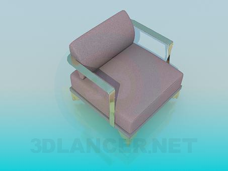 modelo 3D Sillón con brazos metálicos - escuchar