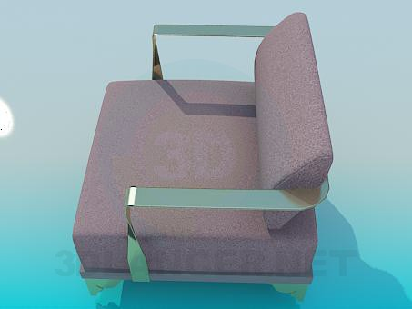 3d model Armchair with metal armrests - preview