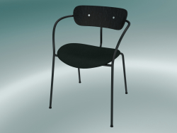 Chair Pavilion (AV4, H 76cm, 52x56cm, Black stained oak, Velvet 1 Forest)