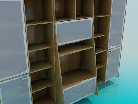 3d модель Коричневая стенка-шкаф – превью