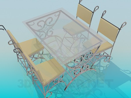 3d model Outdoor table and chairs - preview