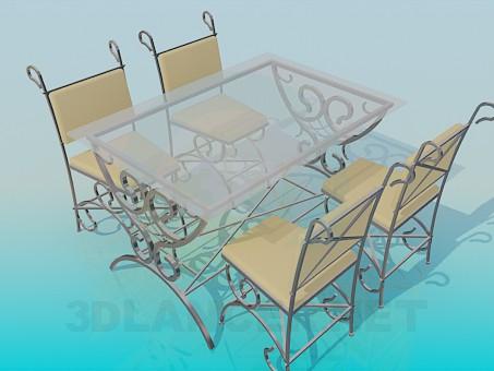 3d модель Стол и стулья для улицы – превью