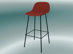 Bar chair with back and base made of Fiber tubes (H 75 cm, Dusty Red, Black)