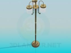 Lâmpada de assoalho com três lâmpadas