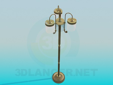 3d model Floor lamp with three lamps - preview