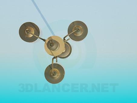 3d модель Торшер з трьома плафонами – превью