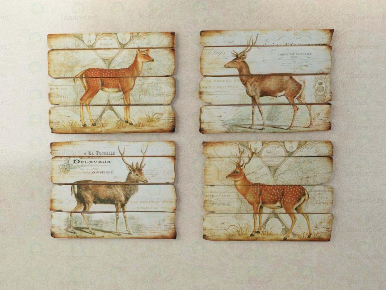 descarga gratuita de 3D modelado modelo paneles de ciervos