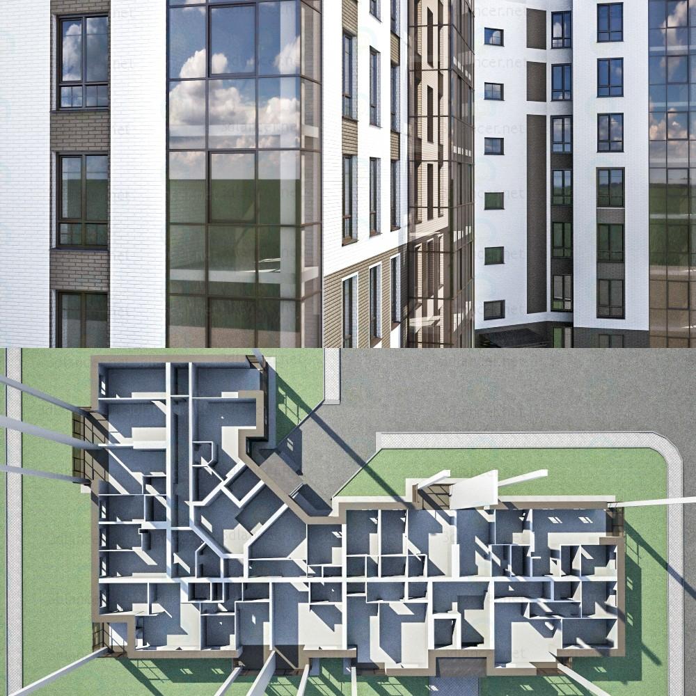3d Многоквартирный кирпичный дом модель купить - ракурс