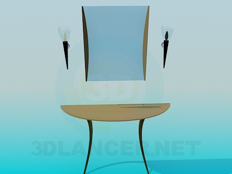 3d model Console with mirror and sconces - preview