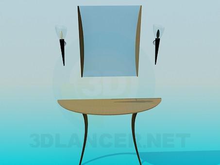 3d модель Консоль з дзеркалом і бра – превью