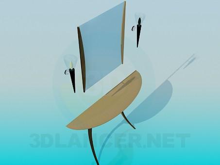 modelo 3D Consola con espejo y apliques - escuchar