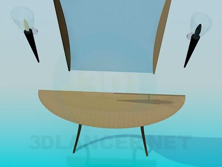 3d модель Консоль с зеркалом и бра – превью