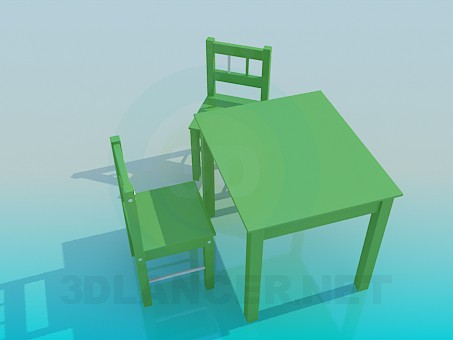 3d modeling Table and chairs in the playroom model free download
