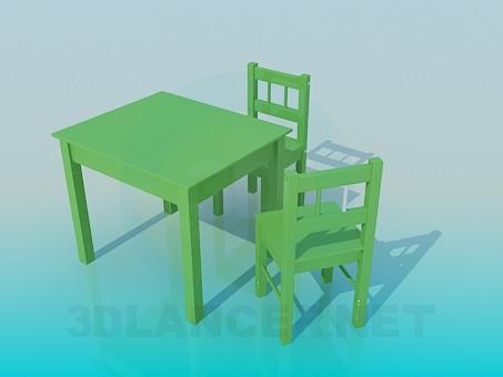 3d модель Столик и стульчики в детскую комнату – превью