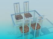 Стіл зі скляною стільницею та стільці в комплекті
