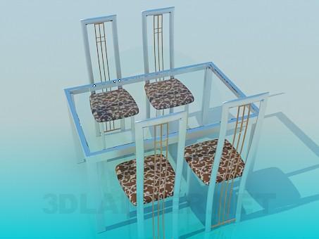 3d модель Стіл зі скляною стільницею та стільці в комплекті – превью