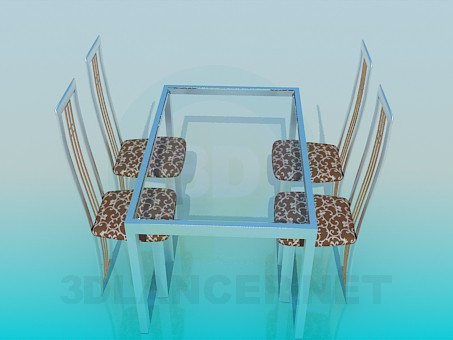 3d model Table with glass tabletop and chairs set - preview