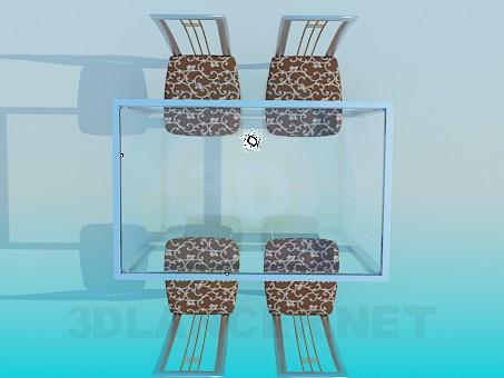 modelo 3D Mesa con sistema de cristal del tablero de la mesa y sillas - escuchar