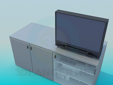 3d model Bedside table with shelves for video and audio systems - preview